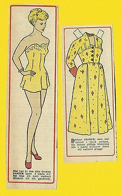 Janice Paige Rare Vintage 1950s Movie Film Star Paper Doll Sweden