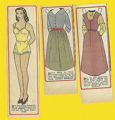 Gene Tierney Rare Vintage 1950s Movie Film Star Paper Doll Sweden