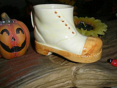 Collectable Vintage Miniature Porcelain Boot Cream and Light Brown