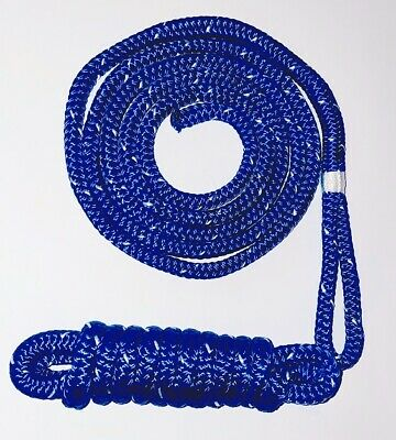 Double Braided Polyester Fender Lines 10mm x 2m, Blue/White - Twin Pack