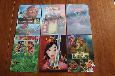 6 LOT Disney Movie Club 3D Lenticular Card Mulan Lilo & Stitch Robin Lion King