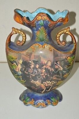 Vintage Antique 1800s 1900s Victorian Ceramic Vase Floral Flower Affluent Women