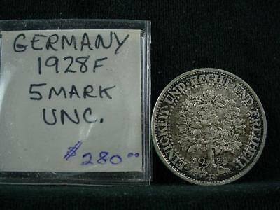 NobleSpirit NO RESERVE {3970} Desirable 1928F Germany 5 Mark UNC VF