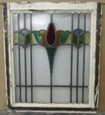 "MID SIZED OLD ENGLISH LEADED STAINED GLASS WINDOW Colorful Abstract 20"" x 23.25"""