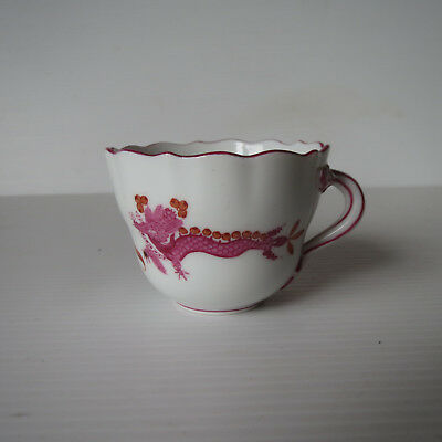 19th Century Meissen Court Dragon, Raspberry Rust Cup, Coffee, Demi Tasse
