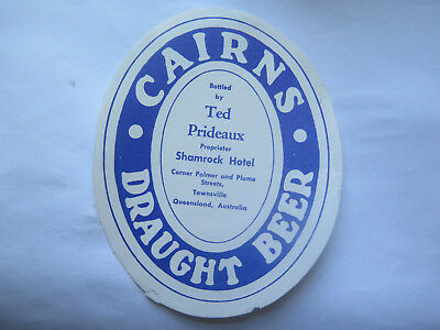 SHAMROCK HOTEL TOWNSVILLE CAIRNS DRAUGHT BEER LABEL 1950s QLD Bottd TED PRIDEAUX