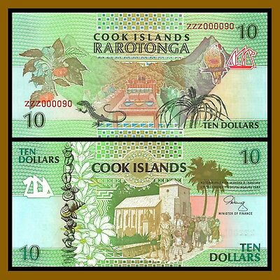 Cook Islands 10 Dollars, ND 1992 P-8 ( Replacement ZZZ000090 ) Unc