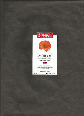 MERLOT 2007 GEORGES DUBOEUF RED TABLE WINE 750 mL WINE BOTTLE LABEL