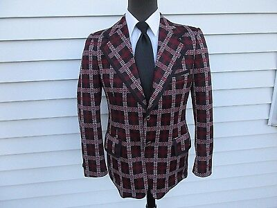 Vintage 70s Plaid Polyester Blazer Burgundy Red Black Leisure Suit 38R