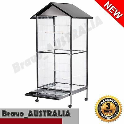 Large Bird Cage Stand-alone Aviary on Castor Wheels 4 Perch Parrot Budgie 185cm