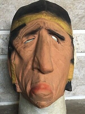 Vintage Topstone Rubber Toy Co Native American Indian Halloween Mask