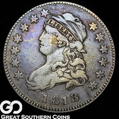 1818 Capped Bust Quarter, VF Tougher Silver Type, Neat Die Cracks ** Free S/H