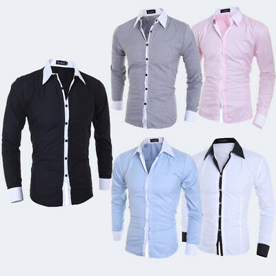 Men's Luxury Casual Shirt Long Sleeve Slim Fit Business Dress Shirts TOPS USA