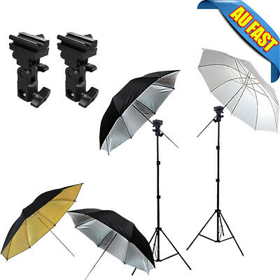 "Studio Folding 4X 33"" Umbrella Flash Shoe Holder Swivel Mount B Light stand Kit"