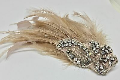 Vintage Pink Feather Hair Clip Rhinestone Flapper 40's Retro Pin Up Plume Bridal