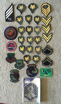 Large Mixed Lot of 32 US Army Military Uniform Patches - WWII & Later USAF Vtg