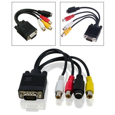 VGA to S-Video 3RCA Composite AV TV Out Converter Adapter Cable For Laptop PC #