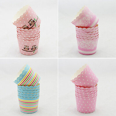 50X Disposable Cake Baking liners Paper Cup Cupcake Muffin Cases Fit Party -L