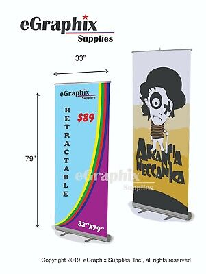 "Color Banner in an Economy Retractable Roll Up Stand,  33"" x 79''"