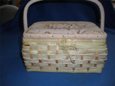 Retro Wicker And Tapestry Sewing Box