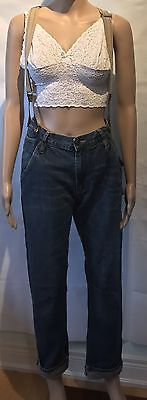 Vintage Blue Jeans Suspenders Roll Up Plaid Cuff Size 36 Straight Leg Fall 90's