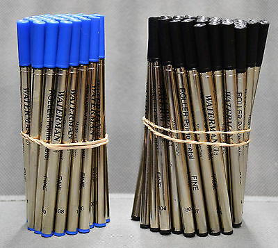 100 Waterman Rollerball Pen Refills Black & Blue Fine Point Fits All