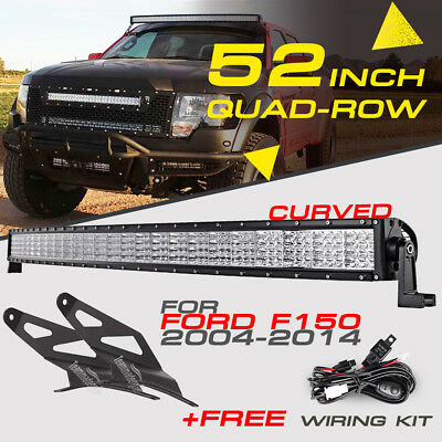 Quad-Row 52inch 3600W Curved CREE LED Work Light Bar Offroad Truck For Ford F150