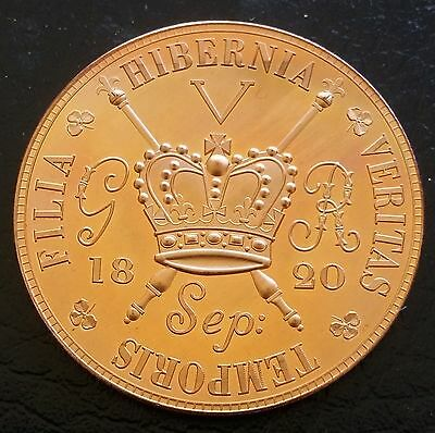 1820  UK Ireland George IV Retro Pattern Proof Crown Pure Copper Hibernia
