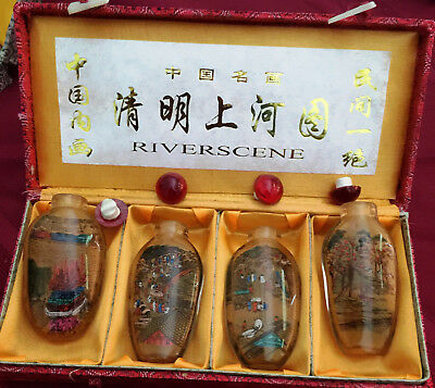 hand painted glass snuff bottles of a river scene boxed set of 4