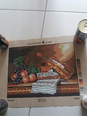 TAPESTRY NEEDLEPOINT STAMPED CANVAS - 'Violin with Fruit'