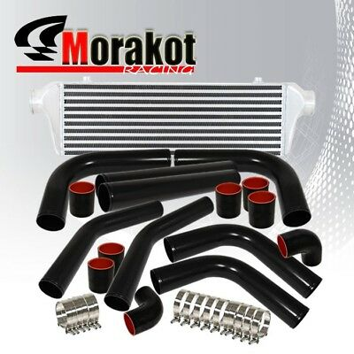 "2.5"" Aluminum Piping Pipe Kit Black/Blk+ Bar&Plate Turbo Front Mount Intercooler"