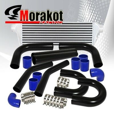 "2.5"" Black Piping U-Pipe Kit Polished/Blue+28"" Inch Turbo Bar&Plate Intercooler"