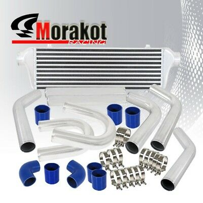 "3""Inch Piping U-Pipe Kit Polished/Blue+28""X7""X2.5""Bar&Plate Trurbo Intercooler"