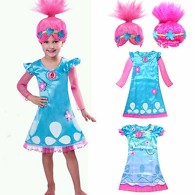 Toddler Kids Girls Wig Trolls Poppy Fancy Dress Cospaly Party Costume Clothes AU