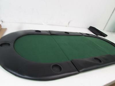 "Green 72"" Tri-fold Poker Chip Table Top with Cup Holders"