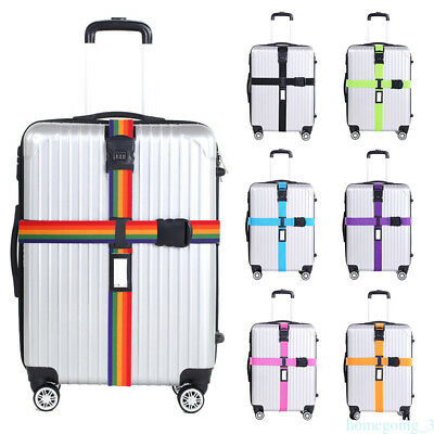 Adjustable Suitcase Luggage Straps W/ Lock Safe Travel Baggage Belt Buckle Cross