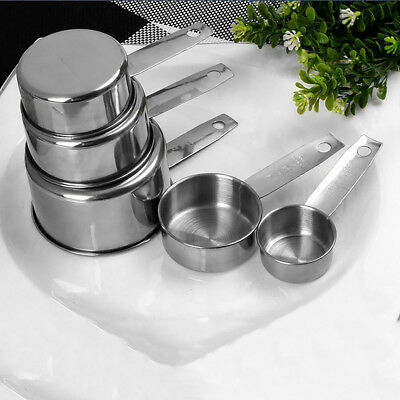 5pcs Stainless Steel Measuring Cups Spoons Set Kitchen Tools Baking Utensil