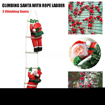 2x Climbing Santa Claus With Rope Ladder Outdoor Christmas Tree Xmas Decoration
