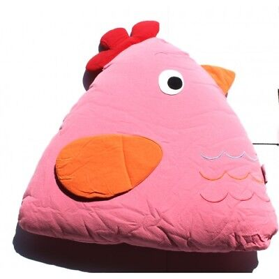 NEW Handmade 100% Cotton Chick Cuddling Cushion Pink Machine Washable 15x18x35cm