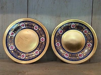 ROYAL CAULDON HAND PAINTED 15 cm PLATE EARLY 20 CTY Heavily Gilded Roses