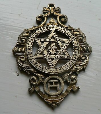 V Rare Antique Silver 1919 Ornate Masonic Royal Arch Chapter Single Sided Jewel