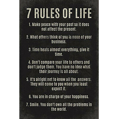 7 Rules Of Life motivational Art Poster Art Deco Poster Wall Painting