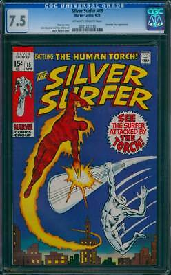 Silver Surfer # 15  The Surfer Attacked by the Torch !  CGC 7.5 scarce book !