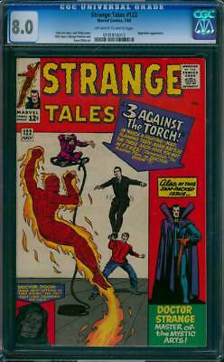 Strange Tales # 122  Three Against the Torch !  CGC 8.0  scarce book!