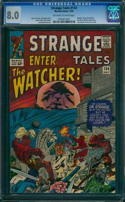 Strange Tales # 134  Enter : The Watcher !  CGC 8.0  scarce book!