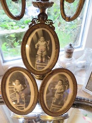 BEAUTIFUL ANTIQUE FRENCH TRIPLE PHOTOGRAPH  FRAME WITH GARLAND  FINIAL ~E.1900's