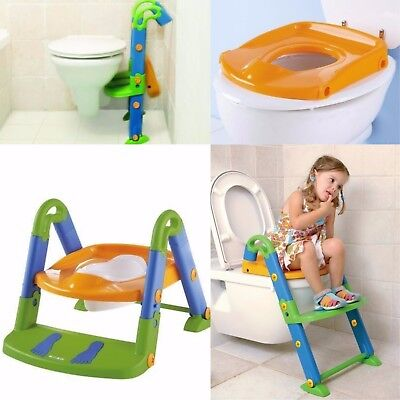 Kids Kit Toilet Potty Seat Trainer Baby Step Up 3 in 1 Bathroom Foldable Potty