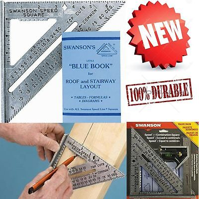 Quick Speed Square Layout Tool With Blue Book Combination Protractor Square Pack