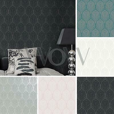 Holden Decor Gatsby Art Deco Arch Glitter Wallpaper - Charcoal Teal Pink White