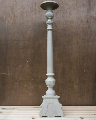 """Shabby Chic, French Antique, Vintage Wooden, Altar Stick, Candlestick, 30""""tall"""